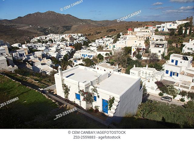 View from above to the mountain village Pyrgos, Tinos Island, Cyclades Islands, Greek Islands, Greece, Europe