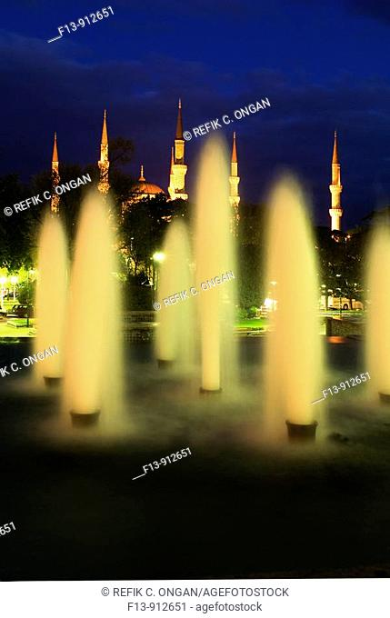 fountain and blue mosque