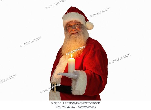 Santa Claus with candel (isolated)