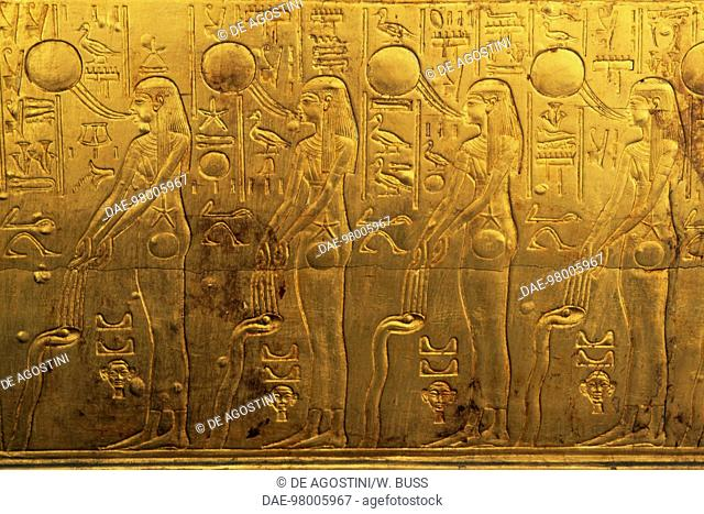 Relief on the right outer panel of the second funeral chapel, Treasury of Tutankhamun, Egypt. Egyptian civilisation, New Kingdom, Dynasty XVIII