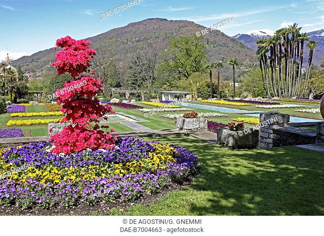 Flower beds in the Botanical Gardens of Villa Taranto, Verbania, Lake Maggiore, Piedmont, Italy