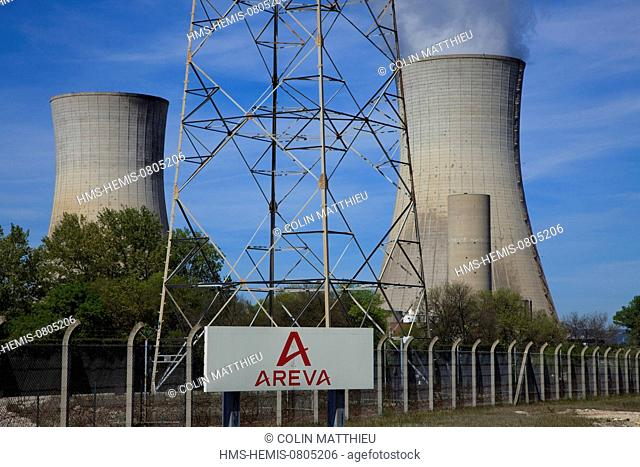 France, Drome, Tricastin industrial nuclear site, cooling tower of Eurodif uranium enrichment plant operated by Areva and electricity supply by the EDF's...