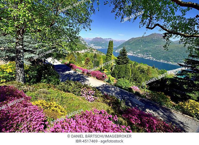 View from Parco San Grato on Lake Lugano with lake dam of Melide, Carona, Lugano, Canton of Ticino, Switzerland