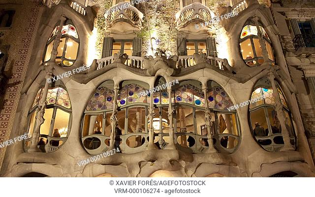 Casa Batllo from Antoni Gaudi architect in Barcelona, Spain