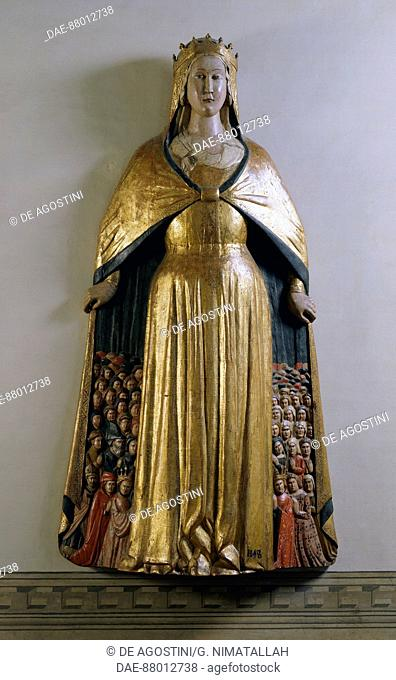 Virgin of Mercy, polychrome wood statue, Italy, end of the 14th century.  Florence, Museo Nazionale Del Bargello (Bargello National Museum)