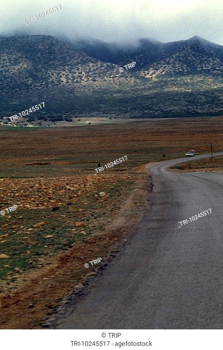 Morocco Middle Atlas Landscape In Rain