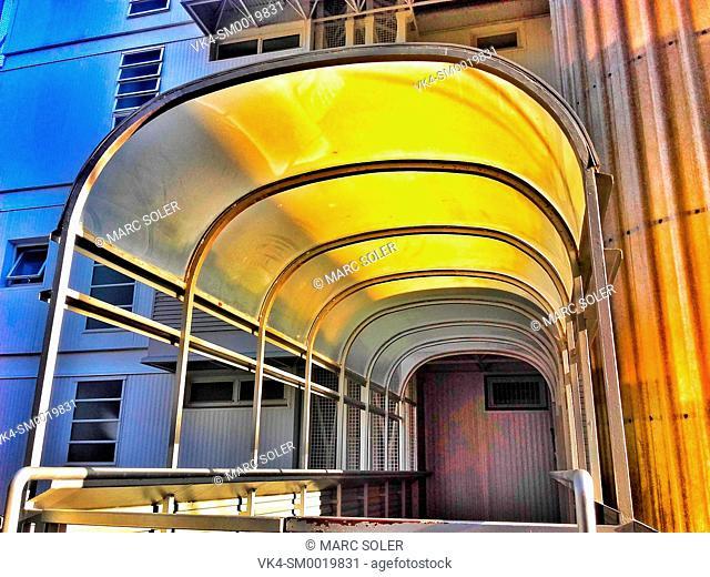 Entrance of an apartment building. Barcelona, Catalonia, Spain