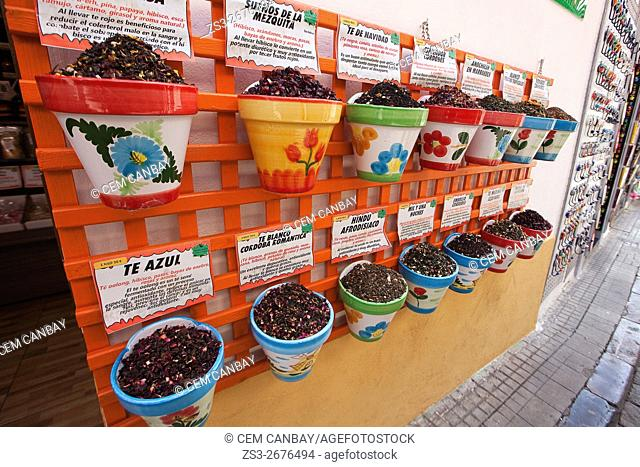 Various teas in pots for sale, Cordoba, Andalucia, Spain, Europe