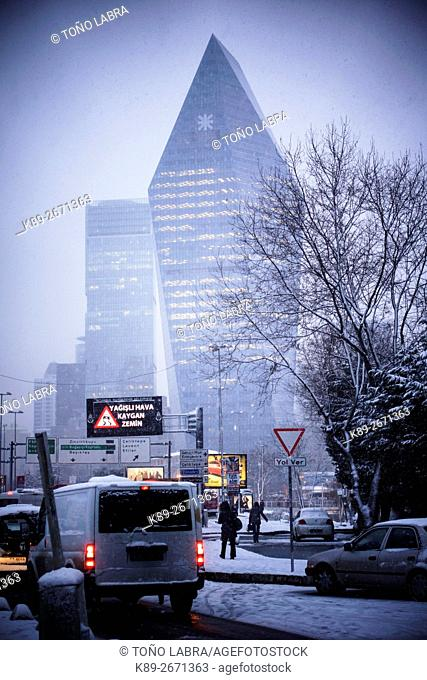 Levent skycrapers under the snow. Modern Istanbul. Turkey