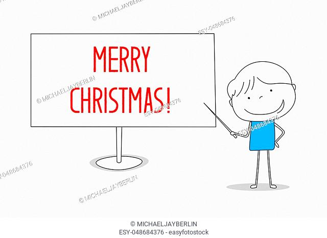 Boy showing Merry Christmas on white board, hand drawn cartoon style illustration sketch