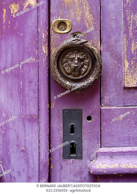 Door with peeling paint