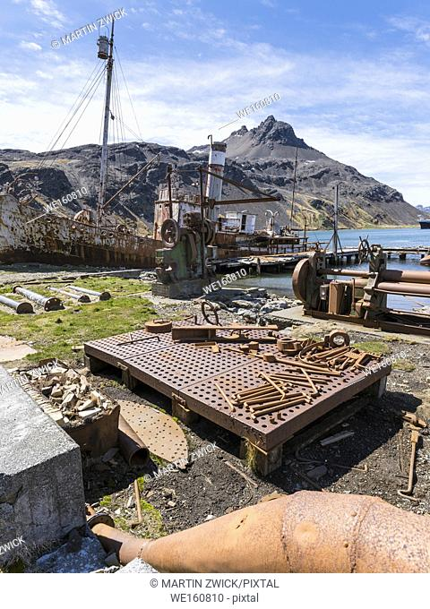 Grytviken Whaling Station in South Georgia. Grytviken is open to visitors, but most walls and roofs of the factory have been demolished for safety reasons