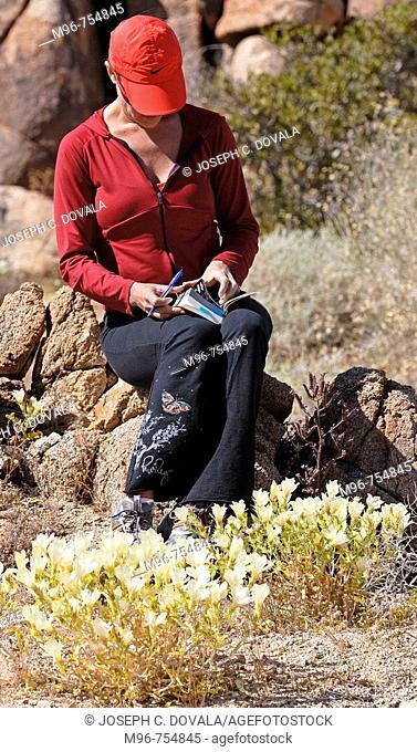 Woman reading flower guidebook, Joshua Tree Park, California, USA