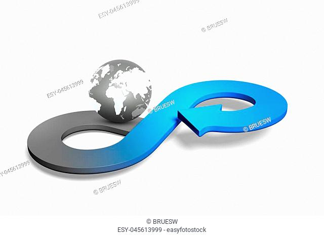 Circular economy concept. Blue arrow infinity symbol with globe, isolated on white, 3D rendering
