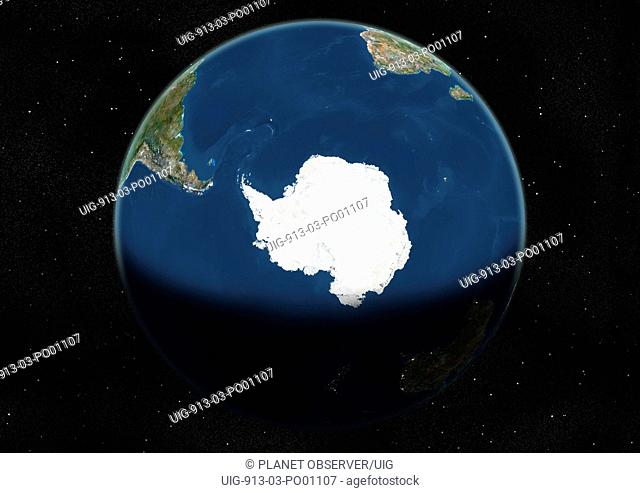 Globe Centred On The South Pole, True Colour Satellite Image. True colour satellite image of the Earth centred on the South Pole, during winter solstice at 12 a
