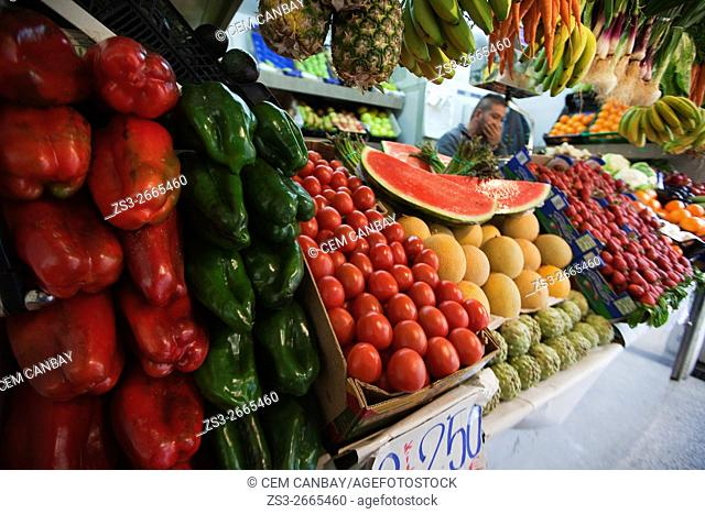 Fruits and vegetables for sale at the Mercado Central-Central market, Cádiz City, Andalusia, Spain, Europe