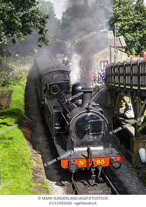 Steam Train at Haworth Station on the Keighley and Worth Valley Railway West Yorkshire England