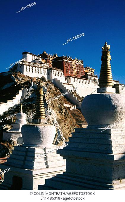 Potala Palace, exiled Dalai Lama's winter palace. Tibet
