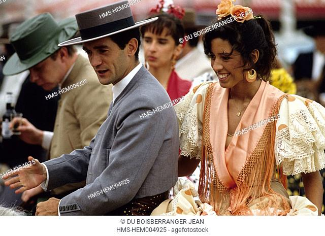 Spain, Andalusia, Sevilla, young Andalusians during the Feria (annual festival)