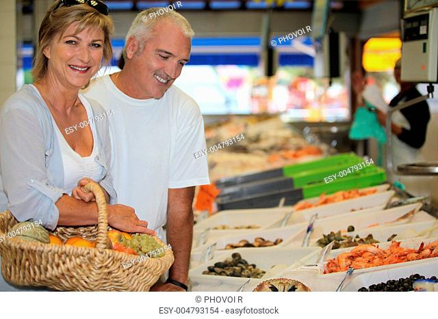 Couple at the market together