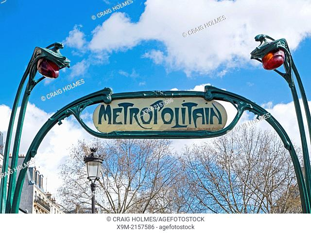 Metro line sign, in the Paris district of Montmatre, France
