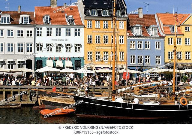 View of Nyhavn in Copenhagen. Denmark