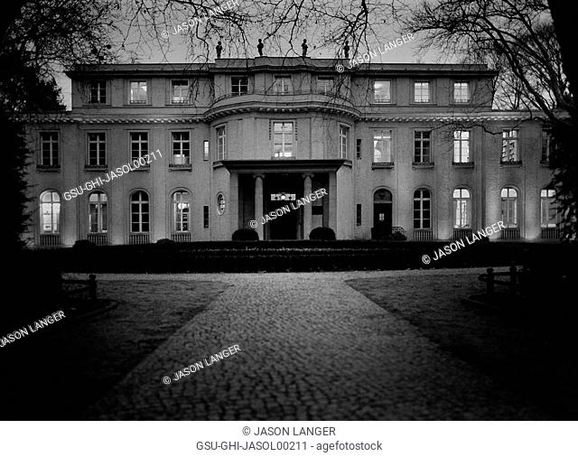House of the Wannsee Conference at Dusk, Museum dedicated as Holocaust Memorial and Document Center, Wannsee, Germany