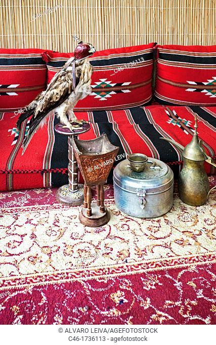 Jaima and falcon, Abu Dhabi, United Arab Emirates, Middle East