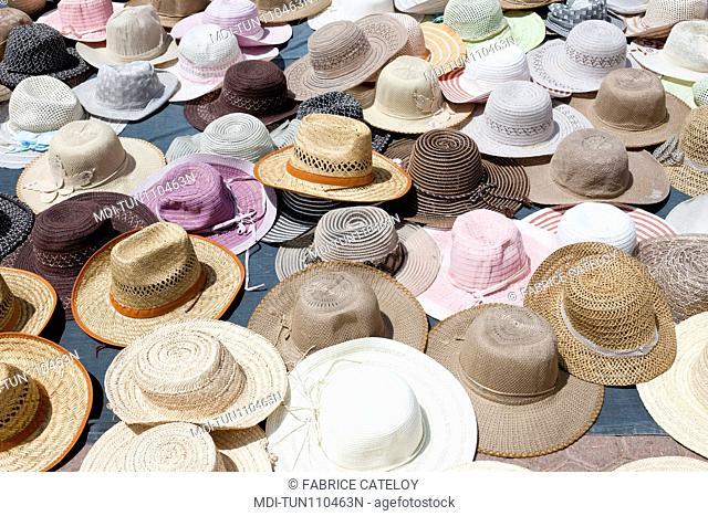 Tunisia - Jerba - Hount-Souk - Hats in the souk