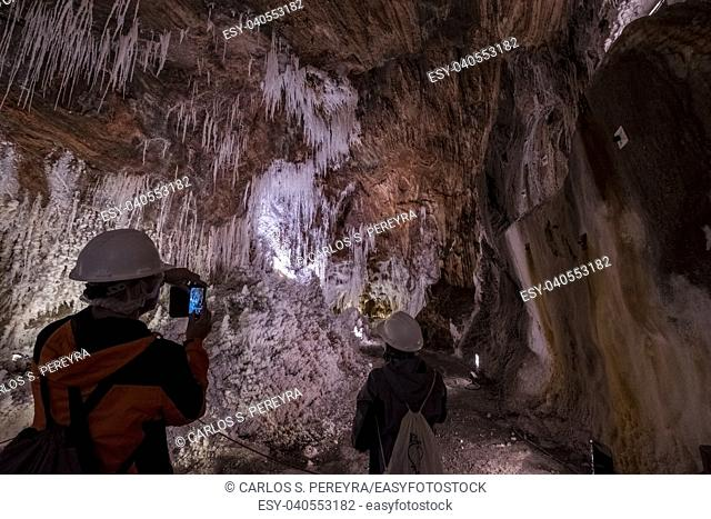 Interior of the old mines of the largest salt mountain in Europe located in Cardona in the autonomous community of Catalonia in Spain Europe