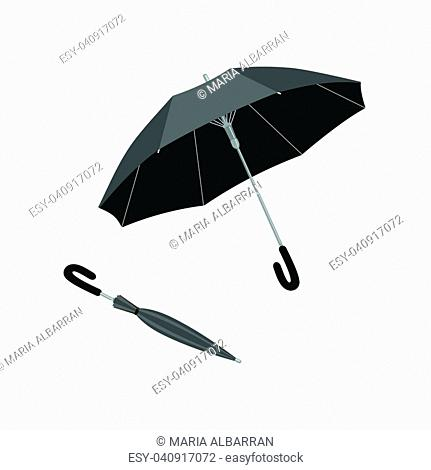 Isolated open and close umbrella. Vector illustration