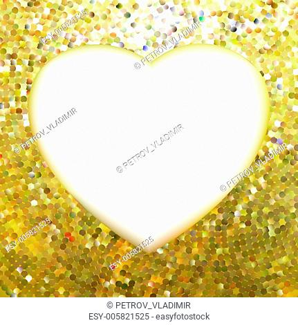 Yellow Gold frame in the shape of heart. EPS 8