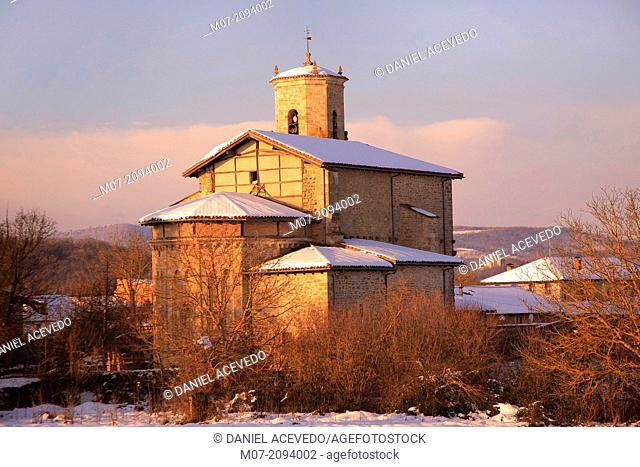 Anua church in winter, Alava, Basque Country, Spain, Europe