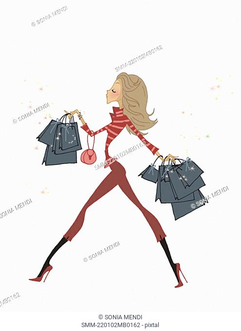 Fashionable woman walking with many shopping bags