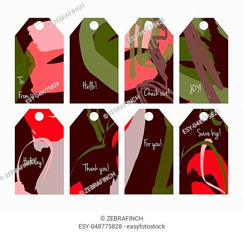 Hand drawn creative shopping tag templates. Abstract artistic doodles. Roughly drawn bright trendy textures. Vector isolated illustration