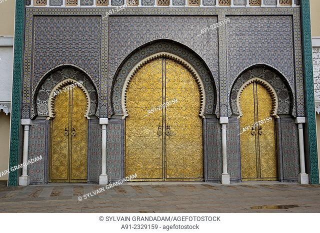 North Africa, Morocco, City of Fez (Fes), the royal palace copper gates