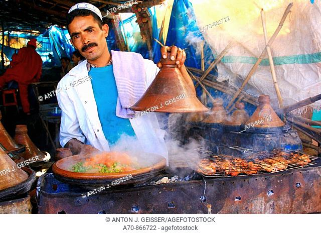Tajinne of pots for traditional vegetables - meat pot Morocco