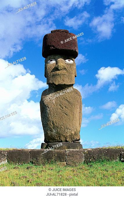 View of a moai statue against blue sky, Chile, Easter Island (Rapa Nui)
