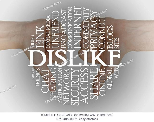 Word cloud social media with a thumbs down background