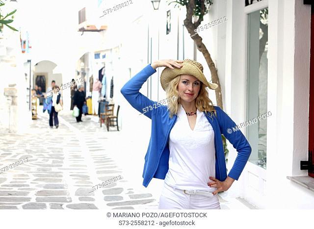 30 year old woman, Mykonos, Cyclades islands, Greece