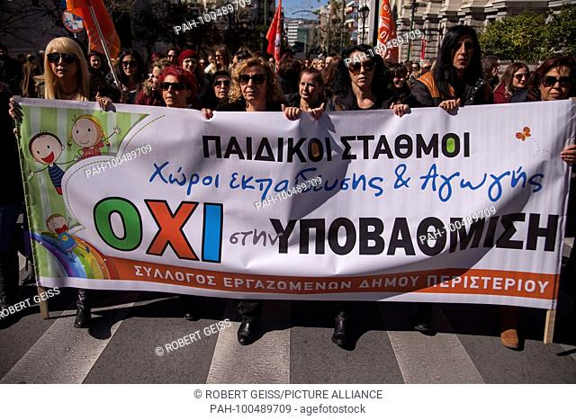 """Employees of public Kindergarten protest against scheduled closing, Banner """"""""NO to closure of kindergarten"""""""", Government plans to have children aged four in..."""