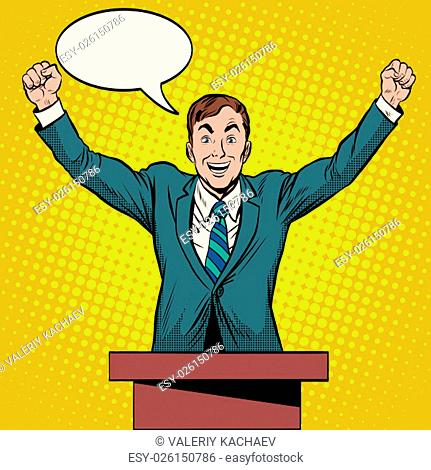 Speaker candidate speech at the podium pop art retro style. Political elections Deputy President Senator. The winner of the vote