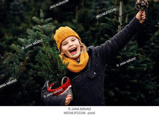 Happy boy preparing for Christmas , holding potted tree, eating chocolate dipped apple
