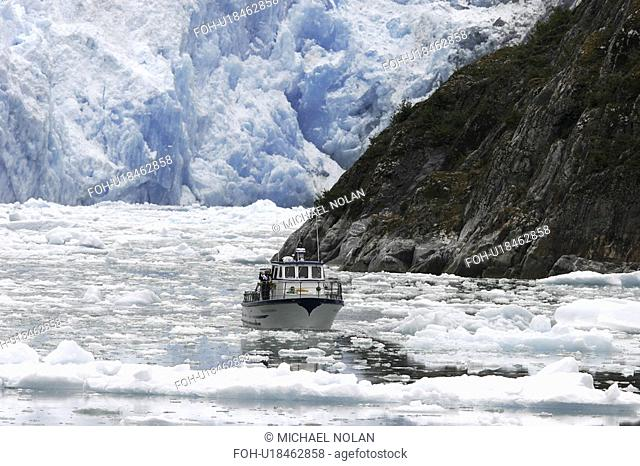 A tour ship navigates the ice of the Le Conte and Patterson Glaciers, the Stikine Ice Field, and the mountains surrounding the town of Petersburg