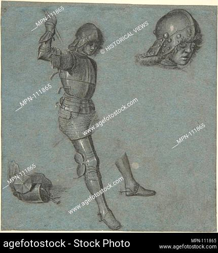 Studies of a Seated Youth in Armor. Artist: Vittore Carpaccio (Italian, Venice 1460/66?-1525/26 Venice); Date: ca. 1505; Medium: Point of brush and gray wash