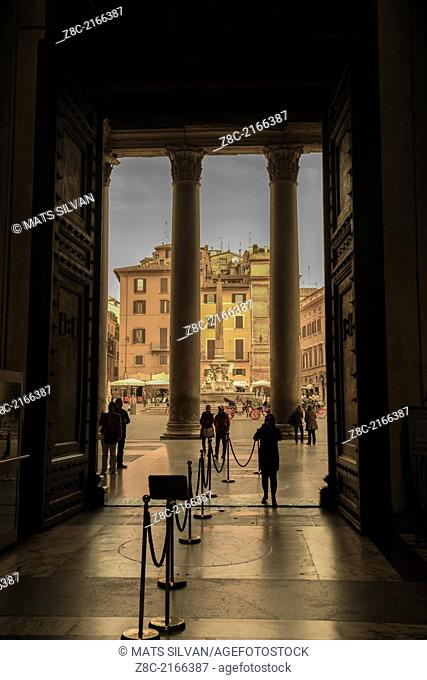 View from entrance door in Pantheon to piazza della Rotonda in Rome Italy