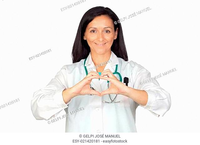 Doctor putting their hands in the shape of heart