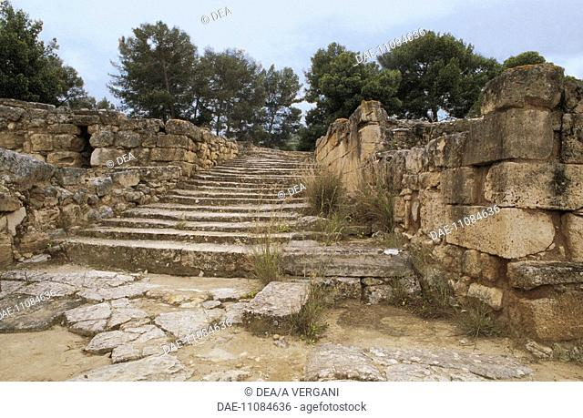 Greece - Crete - Ayia Triada. Remains of Palace. Staircase