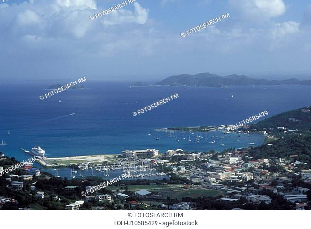 Caribbean, Road Town, Tortola, British Virgin Islands, Road Bay, BVI, Scenic view of Road Town on the island of Tortola on the Caribbean Sea
