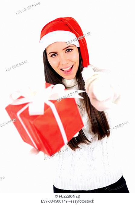 Isolated Young Christmas Girl Pointing You